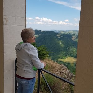 Monte delle Formiche: my wife looking at the Idice valley